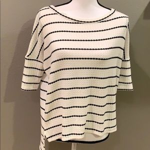 CHASER Stripe Boxy Thermal Knit Pullover Top XS